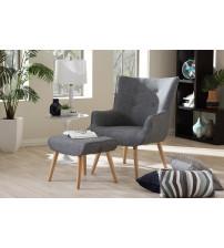 Baxton Studio U5033N-Mocha Set Nola Mid-Century Inspired Grey Fabric Upholstered Occasional Armchair and Ottoman Set