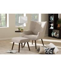 Baxton Studio U5033W-Latte Set Nola Mid-Century Inspired Beige Fabric Upholstered Occasional Armchair and Ottoman Set