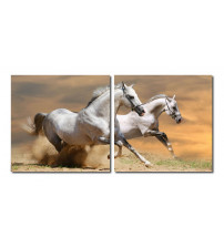 Baxton Studio VC-2055AB Galloping Grandeur Mounted Photography Print Diptych in Multi
