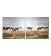 Baxton Studio VC-2056AB A Zeal of Zebras Mounted Photography Print Diptych in Multi