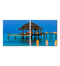 Baxton Studio VC-2069AB Dinner in the Tropics Mounted Photography Print Diptych in Multi