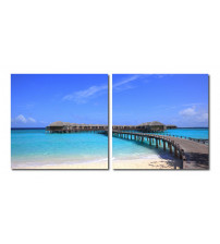 Baxton Studio VC-2071AB Bridge to Paradise Mounted Photography Print Diptych in Multi