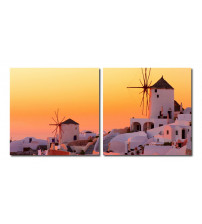 Baxton Studio VC-2079AB Grecian Crossroads Mounted Photography Print Diptych in Multi