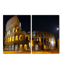 Baxton Studio VC-2122AB Illuminated Coliseum Mounted Photography Print Diptych in Multi