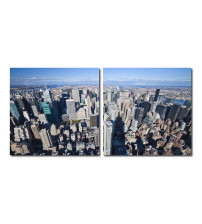 Baxton Studio VC-2123AB Aerial Manhattan Mounted Photography Print Diptych in Multi
