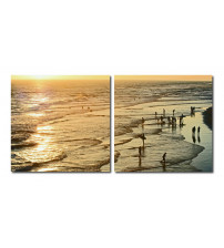 Baxton Studio VC-2158AB Wading in the Waves Mounted Photography Print Diptych in Multi