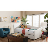 Baxton Studio Vera-White-Daybed Vera Upholstered Curved Sofa Twin Daybed with Roll-Out Trundle Guest Bed