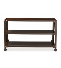 Baxton Studio WR-S41 Dreydon Rustic Industrial Antique Bronze Finishing Walnut Wood Occasional Console Table
