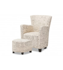 Baxton Studio WS-0710-Beige-L277 Benson French Script Patterned Fabric Club Chair and Ottoman Set