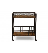 Baxton Studio YLX-9032 Bentley Antiqued Vintage Industrial Metal and Wood Wheeled Kitchen Serving Cart