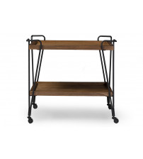 Baxton Studio YLX-9040 Laydon Rustic Distressed Ash Wood Mobile Serving Bar Cart