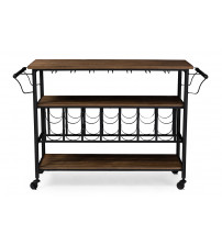 Baxton Studio YLX-9044 Bradford Rustic Distressed Wood Mobile Kitchen Bar Serving Wine Cart